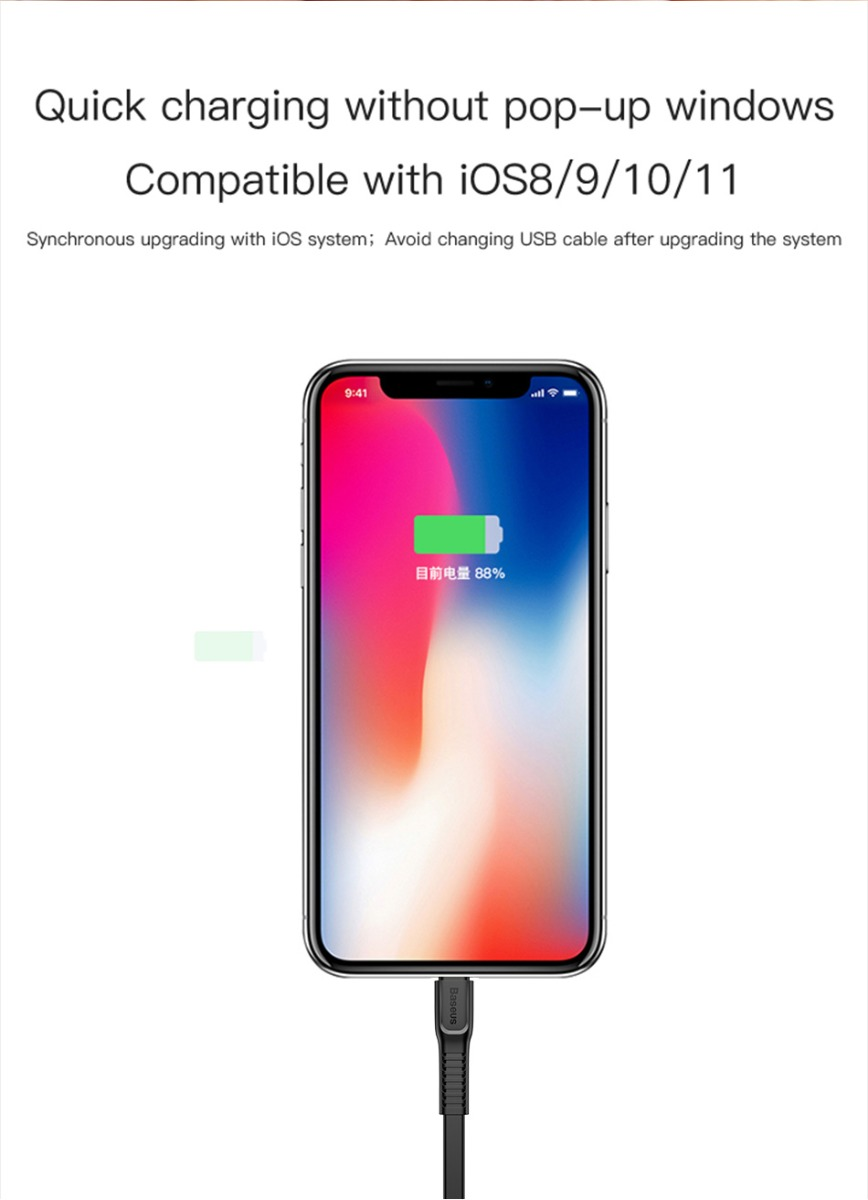 Baseus 18W PD Fast Charging Cable USB-C+Type-C 2A Interface