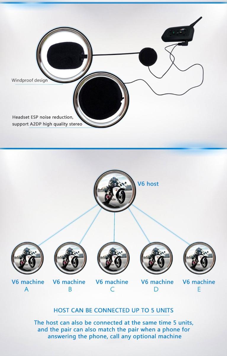 Vnetphone V6 Motorcycle Helmet Waterproof Bluetooth Intercom Headset