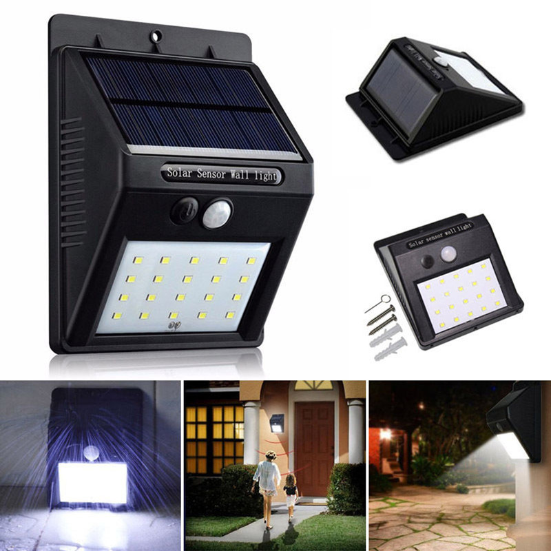 PIR Motion Sensor Wall Light 20 LED Solar Powered Waterproof Garden Lamp