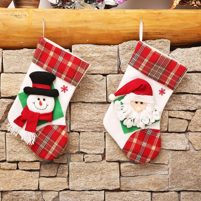Hot Selling Christmas Ornament Sacks Christmas Pendant Socks Gift Bags 16-inch single-head Christmas ornaments