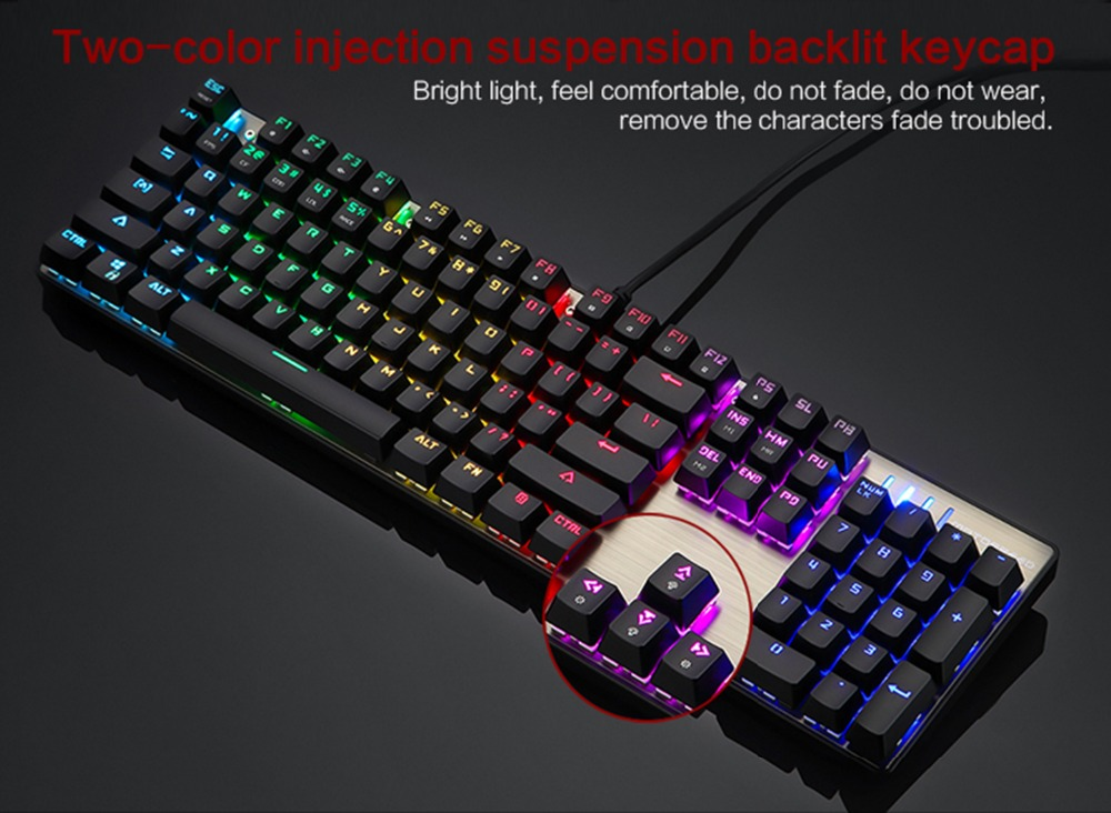 Motospeed CK104 Gaming Mechanical Keyboard 104 Keys RGB Switch Real Blue with LED Backlight