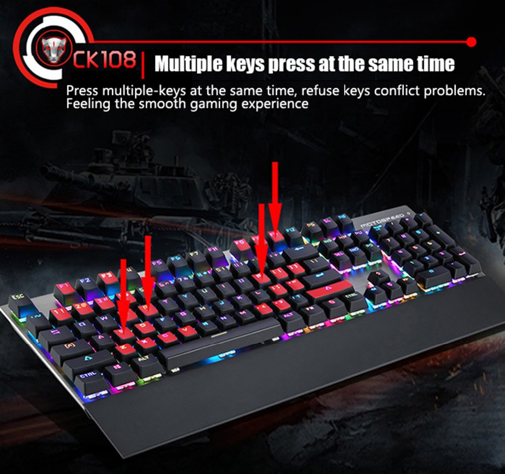 Motospeed CK108 Mechanical USB Gaming Keyboard Wired Blue / Black with Switch 18 Modes Backlight for Gamer