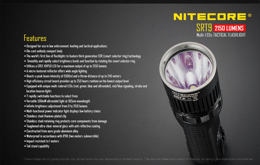 nitecore srt9 tactical flashlight