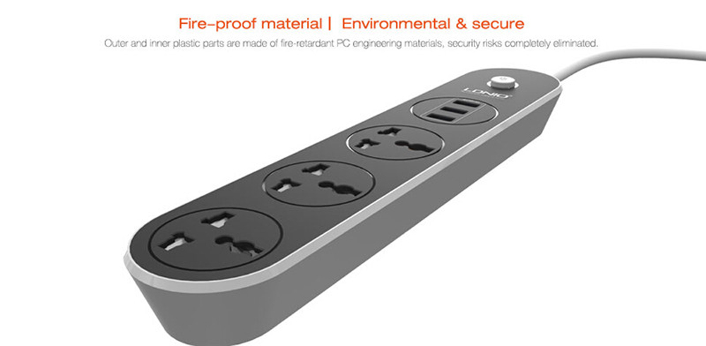 LDNIO SC3301 Intelligent Power Strip 3 USB Port 3 Sockets Adapter Converter 10A Fast Charger for iPhone