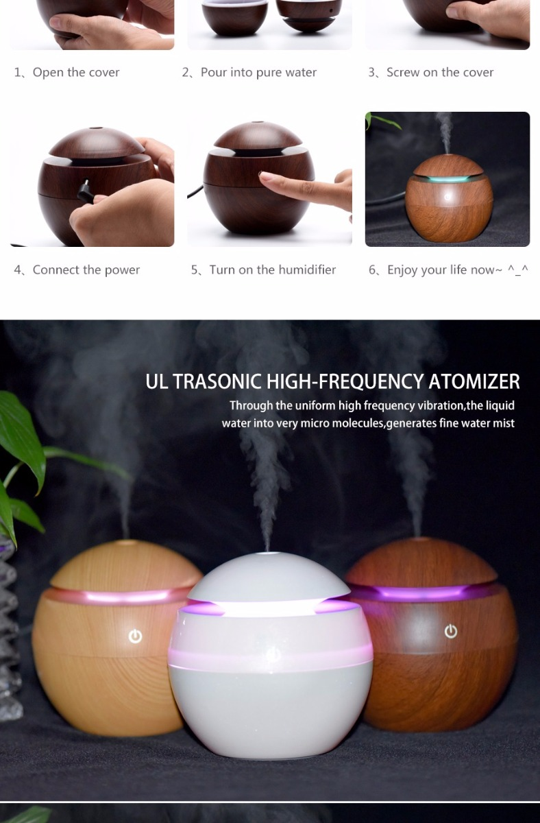 GearVita U8 Mini Wood Aromatherapy Humidifier with Color Changing LED