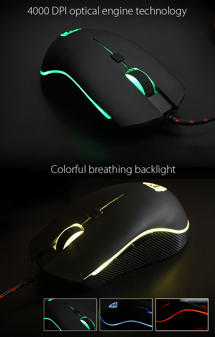 New Motospeed V40 Wired Gaming Mouse for Gamer 4000 DPI 6 Buttons LED Breathe