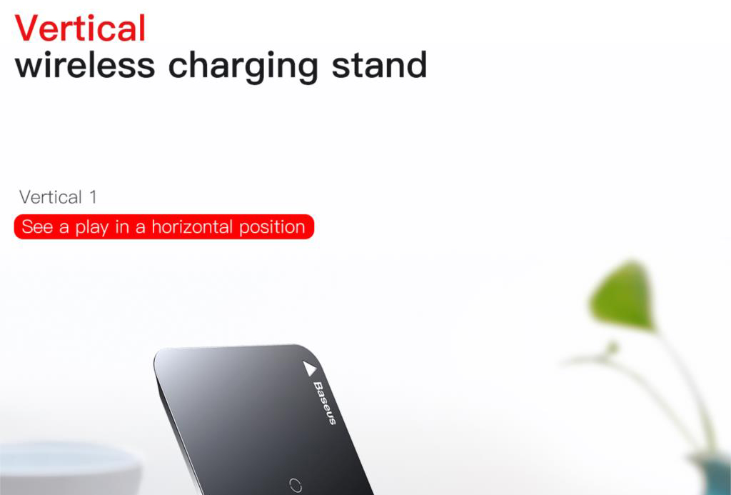 Baseus WXHSD Wireless Qi Charging Pad / Stand for iPhone X