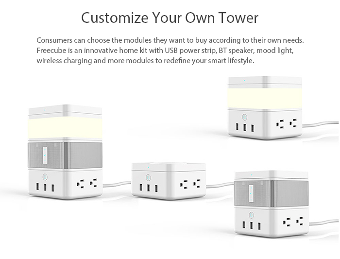 Freecube is an innovative home kit with USB power strip, BT speaker, mood light, wireless charging and more modules to redefine your smart lifestyle.