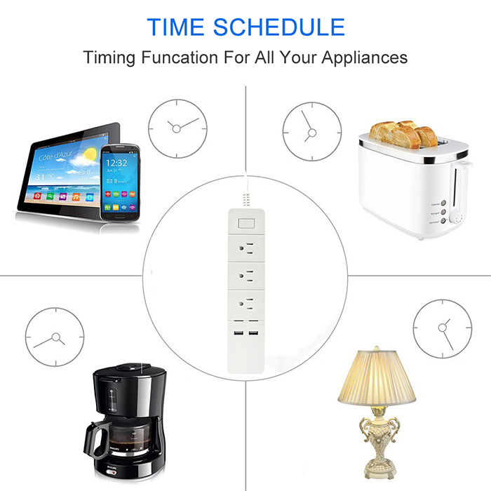 you can set schedule for household appliances connected with port on the app, turn on or off anytime you need, each port independent timing