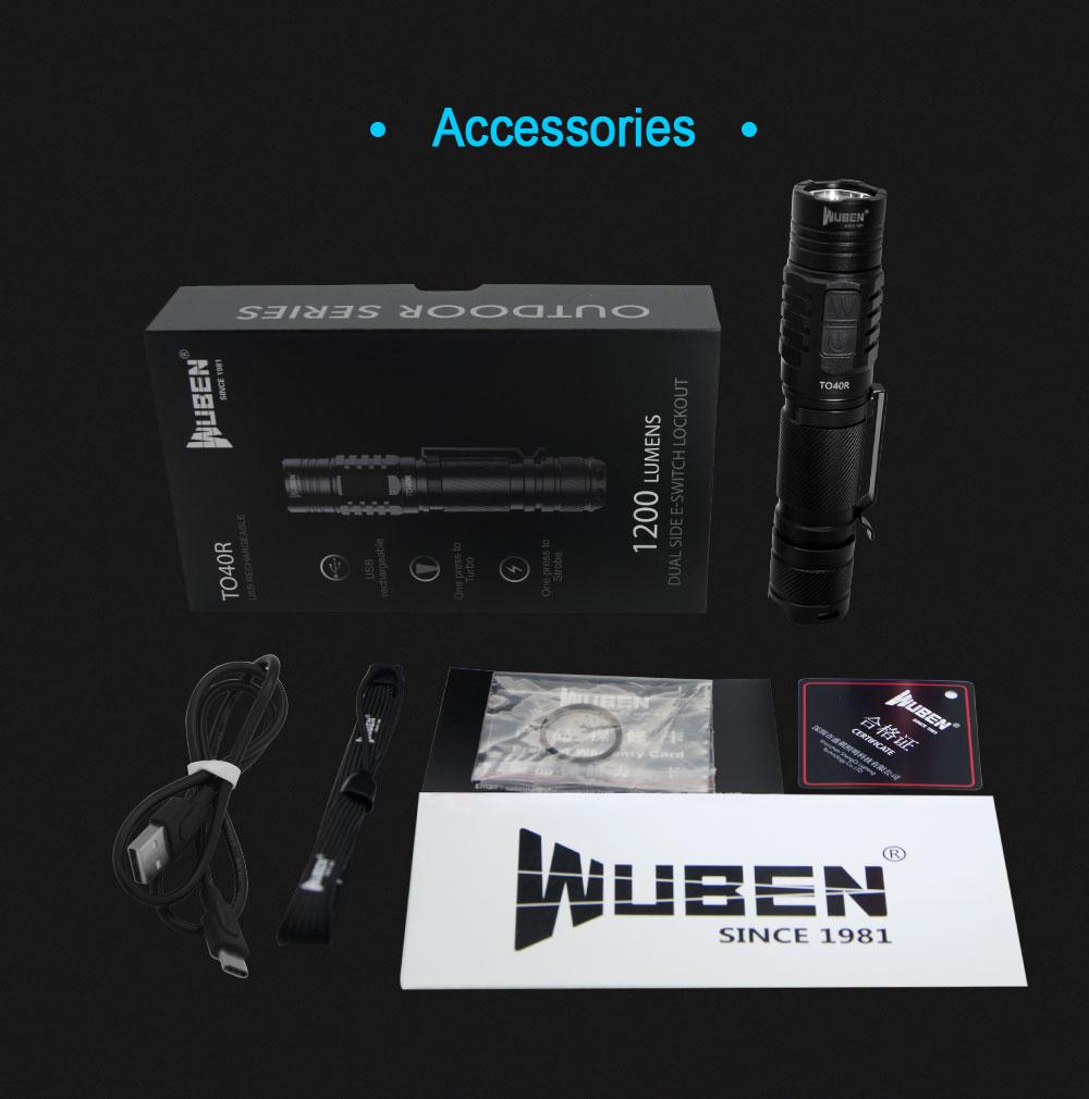 wuben to40r usb flashlight