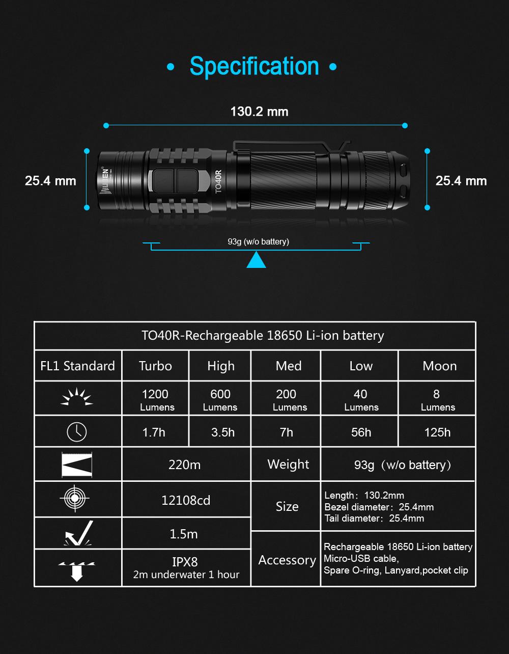 wuben to40r portable flashlight