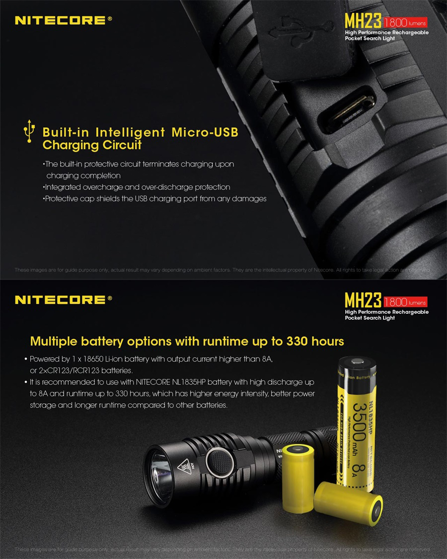 nitecore mh23 led flashlight