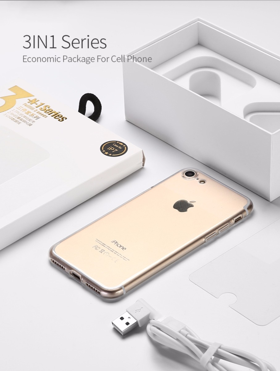 DUX DUCIS TPU Case +Protector Film +USB Cable for iPhone 7 7p 8 8p