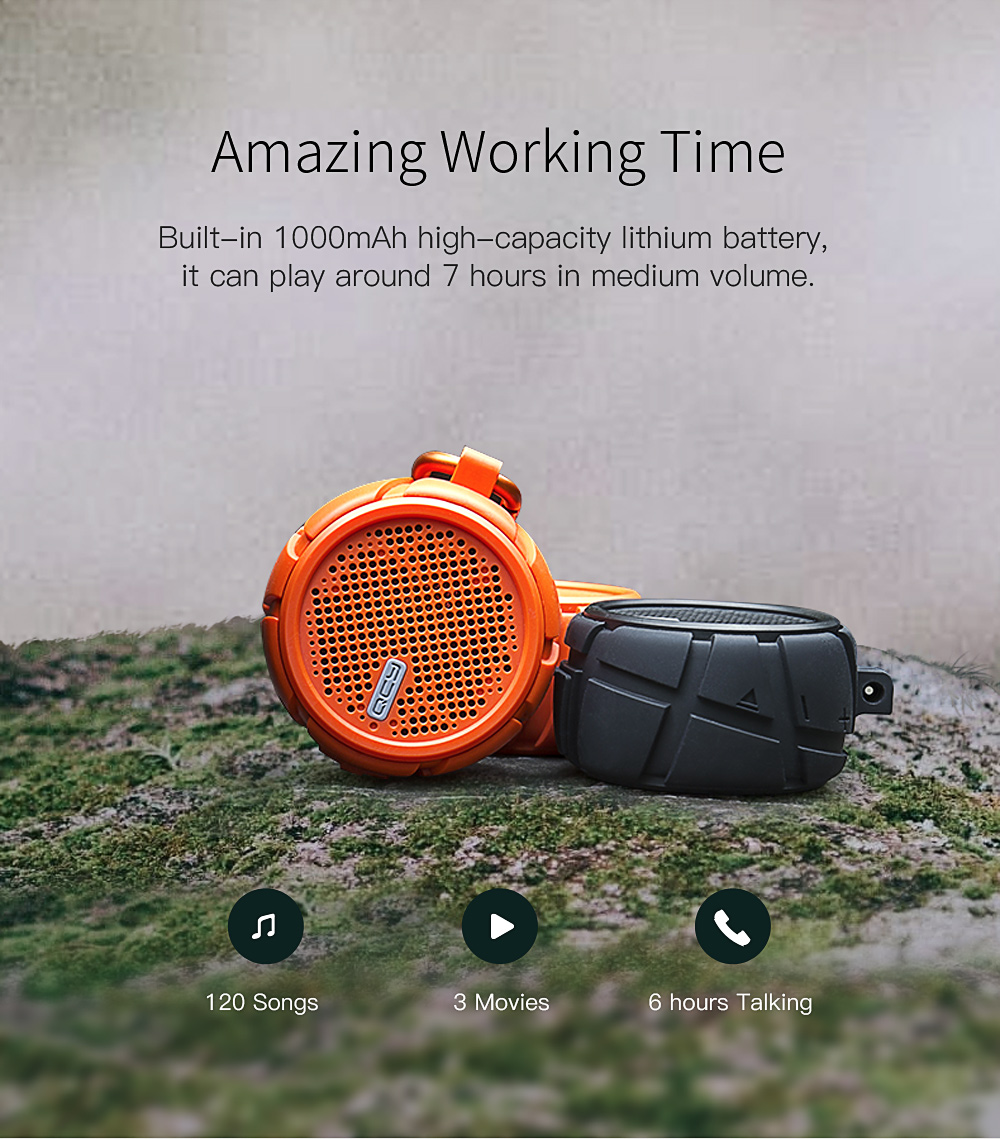 QCY BOX2 Waterproof Bluetooth Speaker 4.2 Sound 3.5mm UX with Mic