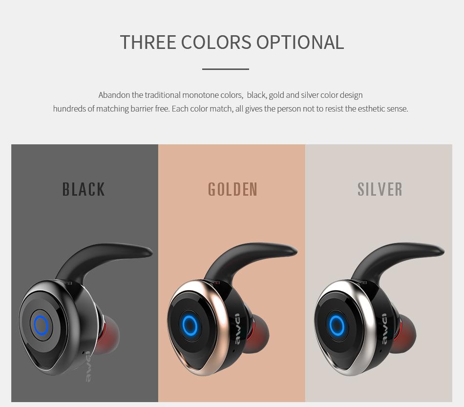 AWEI T1 Wireless Bluetooth Earphone with Microphone for iPhone Samsung Xiaomi Huawei