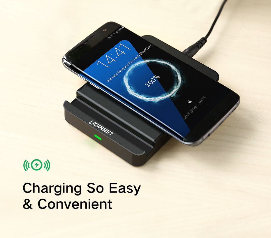 Ugreen Qi Wireless Charging Pad with Dual USB Charging Adapter for iPhone X & Android